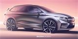 Škoda Enyaq iV na oficiálních skicách. Tvůrce ji přirovnává ke kosmické lodi